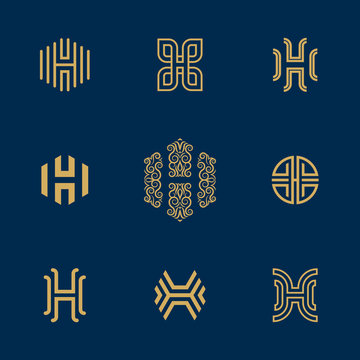 Letter H Logo collection. Vector deluxe, ornated, floral, tech, minimalist H monogram.