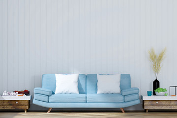 Living room with white wall and light blue sofa, 3D Rendering
