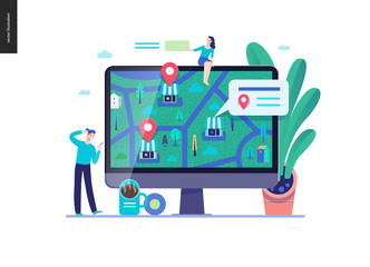 Business series, color 3 - where to buy - modern flat vector concept illustration of map, marked shops, computer screen Selling interaction and purchasing process Creative landing page design template