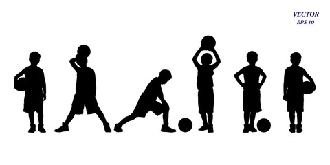 Set of basketball players silhouette of kids. Isolated on white background.