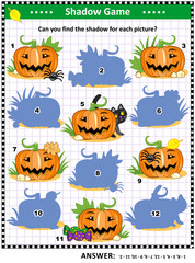 Halloween themed visual puzzle or picture riddle with pumpkins: Can you find the shadow for each picture? Answer included.