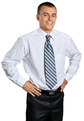 Happy Businessman Standing with Hands on Hips - Isolated