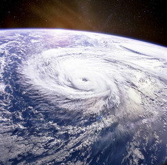 Typhoon. Satellite view. Elements of this image furnished by NASA.