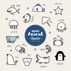 Set of aquatic animal icon.