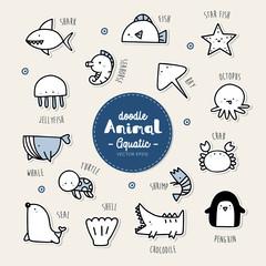 Set of aquatic animal icon.