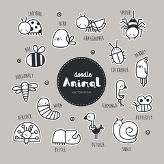 Collection of hand draw Animal icon doodle style.