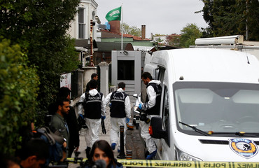 Turkish forensic officials arrive to the residence of Saudi Arabia's Consul General Mohammad al-Otaibi in Istanbul