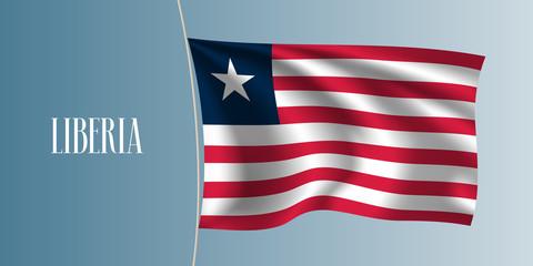Liberia waving flag vector illustration. Iconic design element