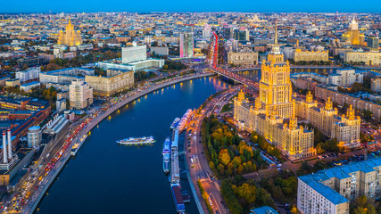 Tuinposter Moskou Aerial view of Moscow City with Moscow River, Russia, Moscow skyline with the historical architecture skyscraper and Moskva River.