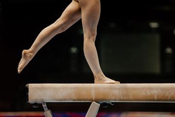 Door stickers Gymnastics legs of female gymnast on balance beam competition gymnastics