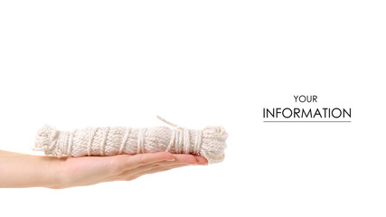 Linen rope in hand pattern on white background isolation