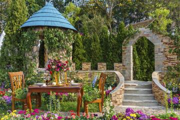 Printed roller blinds Garden Landscaped backyard flower garden
