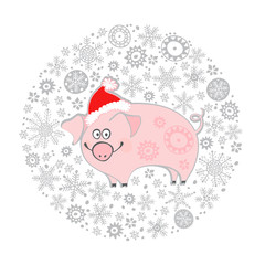 Cute pig in Santa hats. Vector cartoon illustration in a circle of snowflakes. Isolated hand-drawn element  on a white background. Piggy - animal symbol of new year 2019.