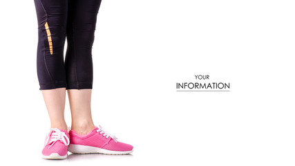 Female legs sports leggings sneakers sports exercises pattern on a white background isolation