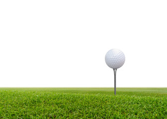 Golf ball on green grass isolated on white background