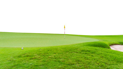 Golf ball on green  flag and golf hole as background isolated on white background
