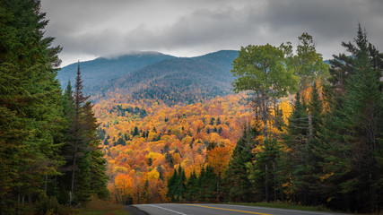 Route 73 showing autumn colors near Keene, the Adirondacks, New York