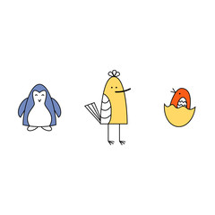 Vector illustration. Set of three small baby birds. Blue, yellow, orange.