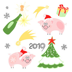 New year vector set with cute pigs on a white background. Cartoon illustration,  isolated hand-drawn element . Piggy - animal symbol of new year 2019.