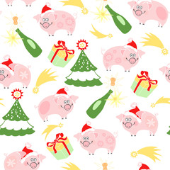 Sweet little pigs and symbols of the New Year. Vector cartoon seamless pattern. Piggy - animal symbol of new year 2019.