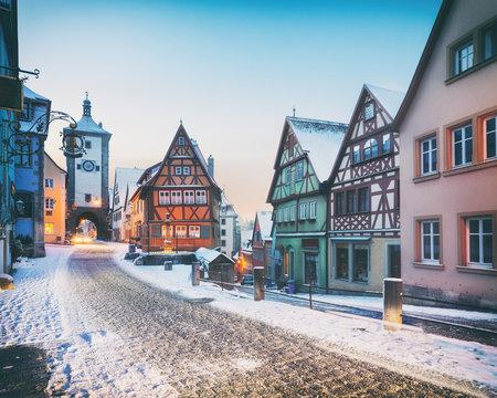 Medieval old Rothenburg ob der Tauber in winter