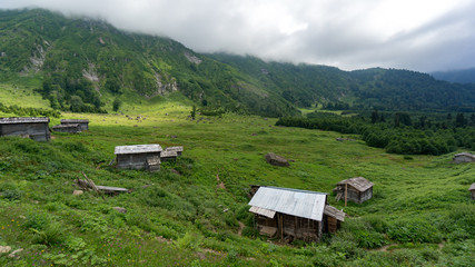 Gorgit highland with old houses and green valley in Blacksea region, Artvin, Turkey