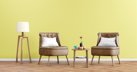 Living room interior with Leather armchair, Lamp and apples on empty yellow wall background, Minimal Rustic, 3D Rendering