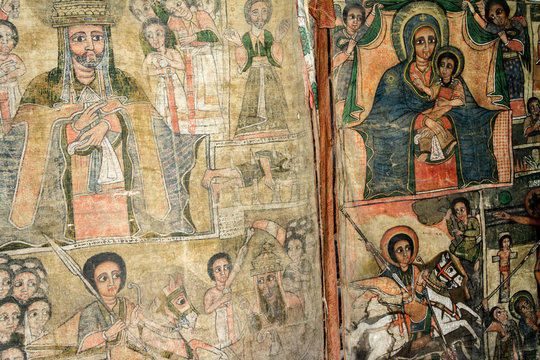 medieval coptic art inside the rock-hewn churches of lalibela