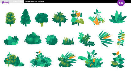 Vector collection of plants and trees