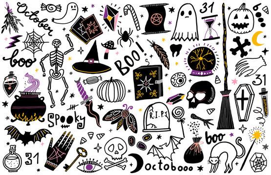 Halloween vector illustration icon set. Magic collection