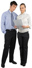Fototapete - Young business couple isolated on white background