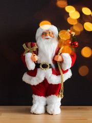 Santa Claus figure bokeh lights