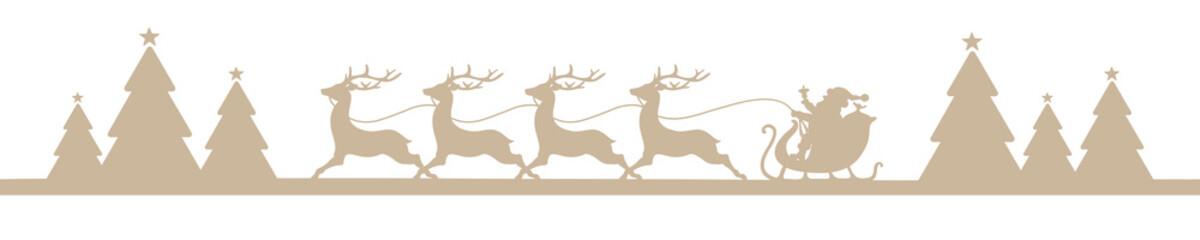 Banner Christmas Sleigh Forest Beige