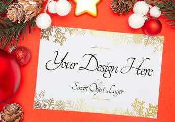Holiday Card and Decorations Mockup