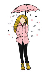 Young woman in a pink slicker is enjoying weather. Vector illustration.