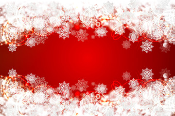 Red christmas background with snowflakes. Vector illustration