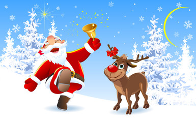 Joyful Santa and reindeer. Santa Claus and deer in the winter forest