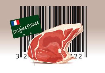 Code barre et étiquette d'origine de viande en provenance de France