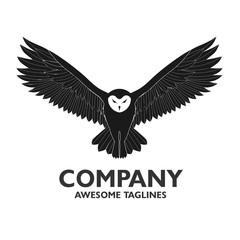 creative owl wisdom vector logo design template, owl fly logo vector