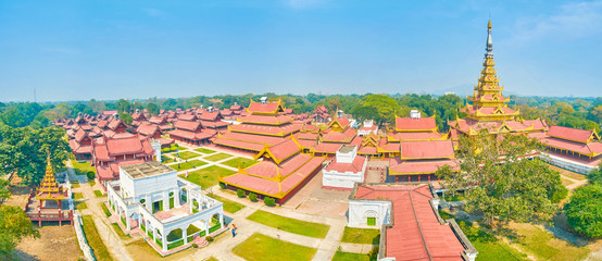 Panorama of Royal Palace in Mandalay, Myanmar