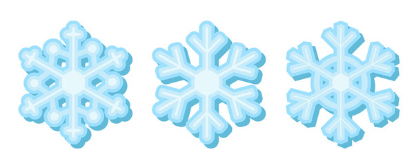 Set of flat blue snowflakes with shadow. Isolated on white.