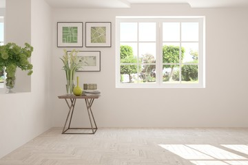 White empty room with summer landscape in window. 3D illustration