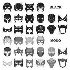 Carnival mask black icons in set collection for design.Mask on the eyes and face vector symbol stock web illustration.