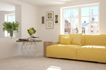 White room with sofa and winter landscape in window. 3D illustration