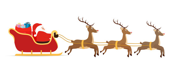 Vector cartoon sleigh, reindeers, sled with Santa Claus.