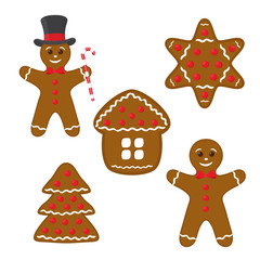 Vector gingerbread set - cookie, home, star and pine.