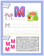 Worksheet for kids with letter M for study English alphabet. Logic puzzle game. Developing children skills for writing and reading. Vector cartoon image.