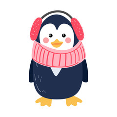 Cute vector illustration of penguin in a knitted scarf and fur headphones isolated on white background. Flat icon design.