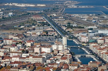 Aerial view of a french city and its harbour