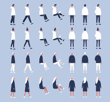 Set of flat vector characters in different poses. Young adults. Lifestyle illustration. Flat editable vector, clip art